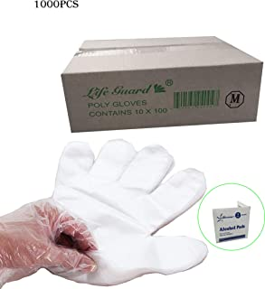 1000 pcs- Medium- Economical Disposable Clear Polyethylene (PE or Poly) Gloves PowerFree- Food Grade- Kitchen, Home, Restaurant, Cooking, Cleaning, Food Handling
