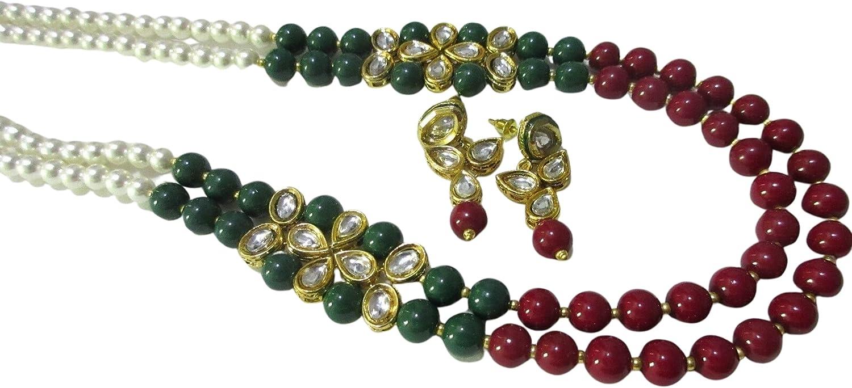Indian Bollywood Long Green Maroon Pearls Kundan Ethnic Fashion Jewelry Set