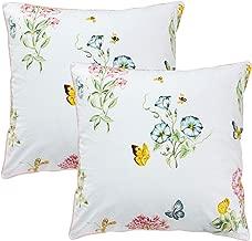 FADFAY Throw Pillow Cover 2Pcs 18X18 Inch 100% Egyptian Cotton Euro Shams Elegant Butterfly Meadow Decorative Pillow Case Home Sofa Cushion Set