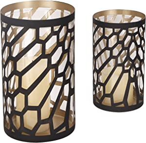 Adeco Romantic Arty Style Metal Cylinder Candle Holder, Perfect for Bathroom or Bedroom