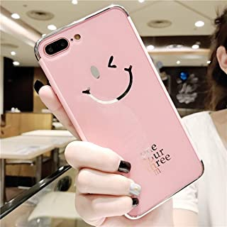 Mirror Case for iPhone 8 Plus/iPhone 7 Plus,Shinyzone Pink Smile Face Pattern Luxury Electroplating Technology Plating Bumper Frame Acrylic Mirror Back Cover Protective Case Cover