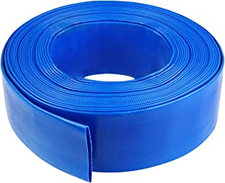 "3"" x 100' Blue Backwash Hose for Swimming Pools, Heavy Duty Discharge Hose Reinforced Pool Drain Hose, PVC Lay-Flat Draining Hoses Ideal for Water Transferring"