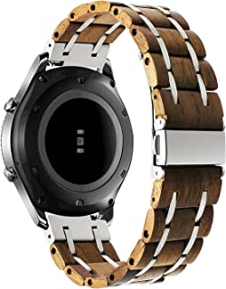 for Samsung Galaxy Watch 46mm / Gear S3 Bands, TRUMiRR 22mm Natural Wood & Stainless Steel Watch Band Quick Release Strap for Samsung Gear S3 Classic/Frontier,Gear 2 R380 R381 R382,Moto 360 2 46mm