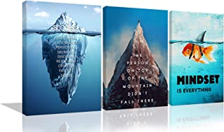 Inspirational Canvas Wall Art Success Iceberg Poster Mindset is Everything Entrepreneur Quote Wall Decor Goldfish Painting 3 Panels Motivational Artwork Decor for Office Home Framed Ready to Hang