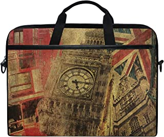 """Laptop Bag Vintage Big Ben Union Jack Red Telephone House 14"""" 15"""" Laptop Case Notebook Briefcase Tablet Handbag Sleeve Computer Backpack for Men Women Travel Business School"""