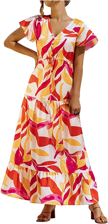 CANDITY Women's Floral Print Dress V Neck Ruffle Sleeve Dress Drawstring Waist Dress Loose Fit Dress Fashion Maxi Dress