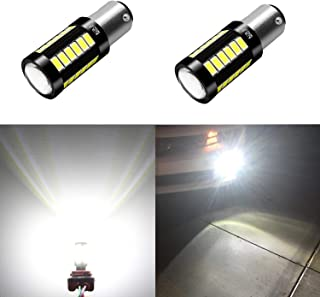 Alla Lighting 2800lm 7528 1157 LED White LED Bulbs Xtreme Super Bright BAY15D 2057 1157 LED Bulb 5730 33-SMD LED 1157 Bulb for Back-Up Reverse/Turn Signal/Brake Stop Tail Lights, 6000K Xenon White
