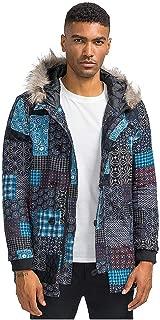 Kekebest Mans Warm Outwear Jackets Floral Hooded Pockets Vintage Oversize Coats 2019 Winter Retro Ethnic Cotton