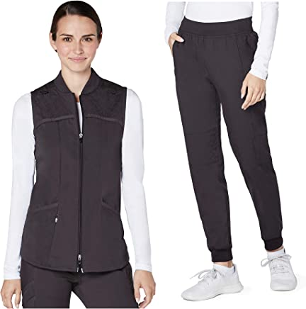 Adar Responsive Scrub Set for Women - Quilted Scrub Bomber Vest & Quilted Jogger Scrub Pants