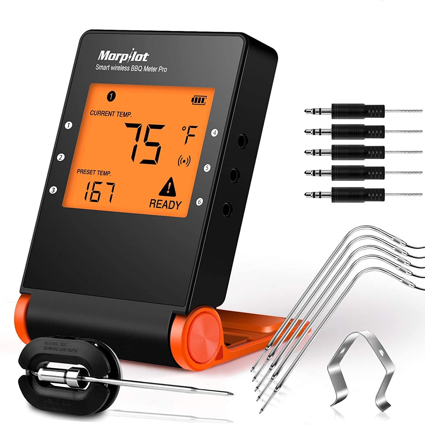 Wireless BBQ Thermometer, Morpilot Bluetooth Digital Meat Thermometer, Smart Grill Thermometer Smoker Thermometer with 6 Stainless Steel Probes, for Cooking Smoker Kitchen Oven