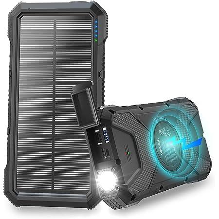 【2020最新版&26800mAh】モバイルバッテリー ソーラー 大容量 ソーラーチャージャー Qiワイヤレス充電 ソーラー充電器 高輝度LEDライト付き Type-C/Micro USB入力ポート Type-C/2*USB出力ポート 太陽光で充電可能 PSE認証済 IOS/Andoroid対応 台風/災害/停電/旅行/出張/アウトドアに大活躍