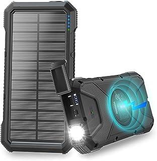 【2020最新版&26800mAh】モバイルバッテリー ソーラー 大容量 ソーラーチャージャー Qiワイヤレス充電 ソーラー充電器 高輝度LEDライト付き Type-C/Micro USB入力ポート Type-C/2*USB出力ポート 太陽光で...