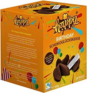 Happy Birthday, Happy Schokoglückskeks, vegan, in einer 10er Box, mit inspirierenden Botschaften (1 Box = 10 Glueckskekse ...