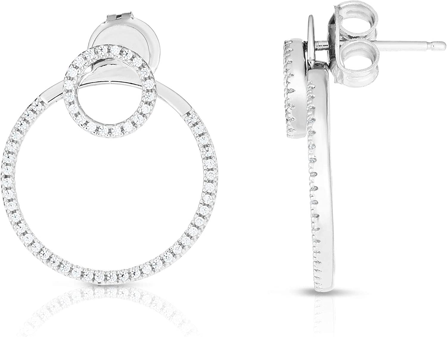 Silver with Rhodium White Clearance SALE! Limited time! Finish Fancy Shiny Opening large release sale Earring Round Post