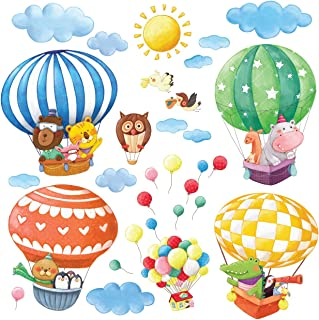 DECOWALL DA-1406B Animal Hot Air Balloons Kids Wall Stickers Wall Decals Peel and Stick Removable Wall Stickers for Kids Nursery Bedroom Living Room