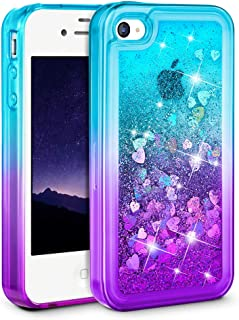 Ruky iPhone 4 Case, iPhone 4S Case, Gradient Quicksand Series Flowing Liquid Bling Sparkle Glitter Soft TPU Protective Girls Women Phone Case for iPhone 4 4S (Teal Purple)