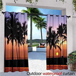 Jktown Hawaiian Decorations Outdoor Grommet Window Curtain Hawaiian Sunset on Big Island Anaehoomalu Bay Tropic Horizon Ocean Romantic Resort for Living Rooms & Bedrooms 84x96 INCH,