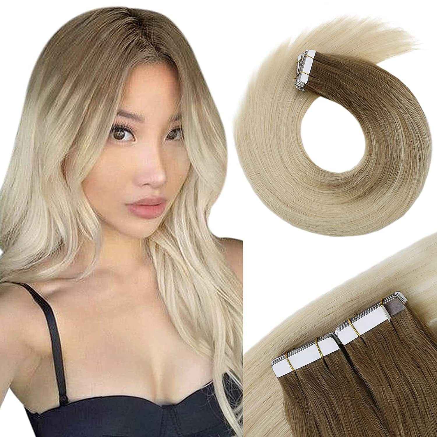 VeSunny Platinum Blonde Ombre Tape Extensions Hair Lig Classic 22inch Cheap SALE Start in