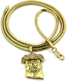 14K Gold Jesus Piece Micro Pendant w/ 3mm 24