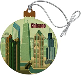 GRAPHICS & MORE Chicago Hancock Building Willis Tower Cloud Gate Bean Wood Christmas Tree Holiday Ornament