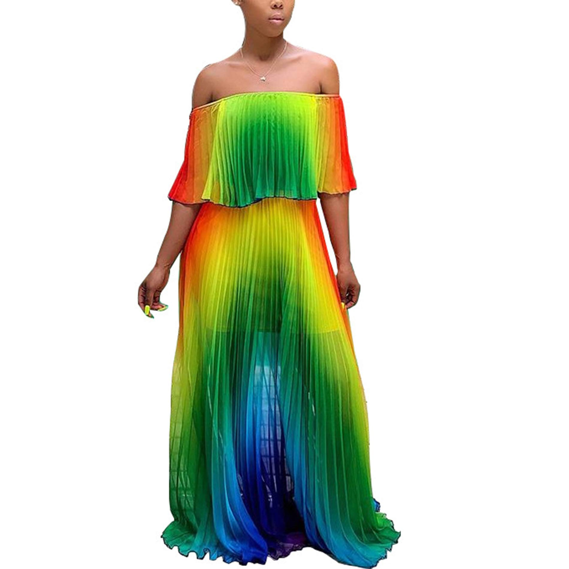 Available at Amazon: IyMoo Women's Sexy Chiffon Sundress Off Shoulder Ombre Tie Dye Pleated Skirts Long Boho Beach Maxi Dress