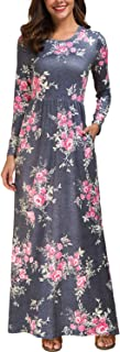 Womens Long Sleeve Maxi Dress Floral Print Casual Long Dresses with Pockets