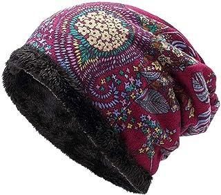 Women's Warm Plus Velvet Thicken Beanie Hat Collar Cashmere Fashion Painting Hat