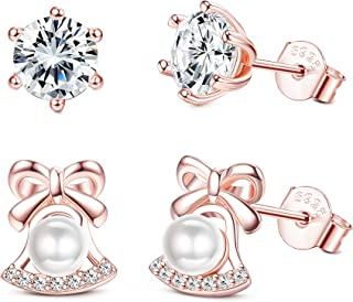 2 Pairs 925 Sterling Silver CZ Stud Earrings for Women Girls Christmas Bell Pearl Earrings Tiny Hypoallergenic Earrings Gift for Kid