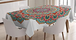 Mandala Tablecloth by Ambesonne, Traditional Circle Culture Print, Dining Room Kitchen Rectangular Table Cover, 60 X 84 Inches, Turquoise Teal Orange Red