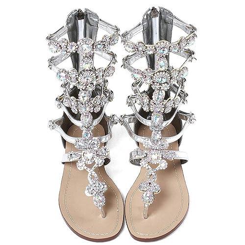 ef8b11e794f98 JF shoes Women s Crystal with Rhinestone Bohemia Flip Flops Summer Beach  T-Strap Flat Sandals