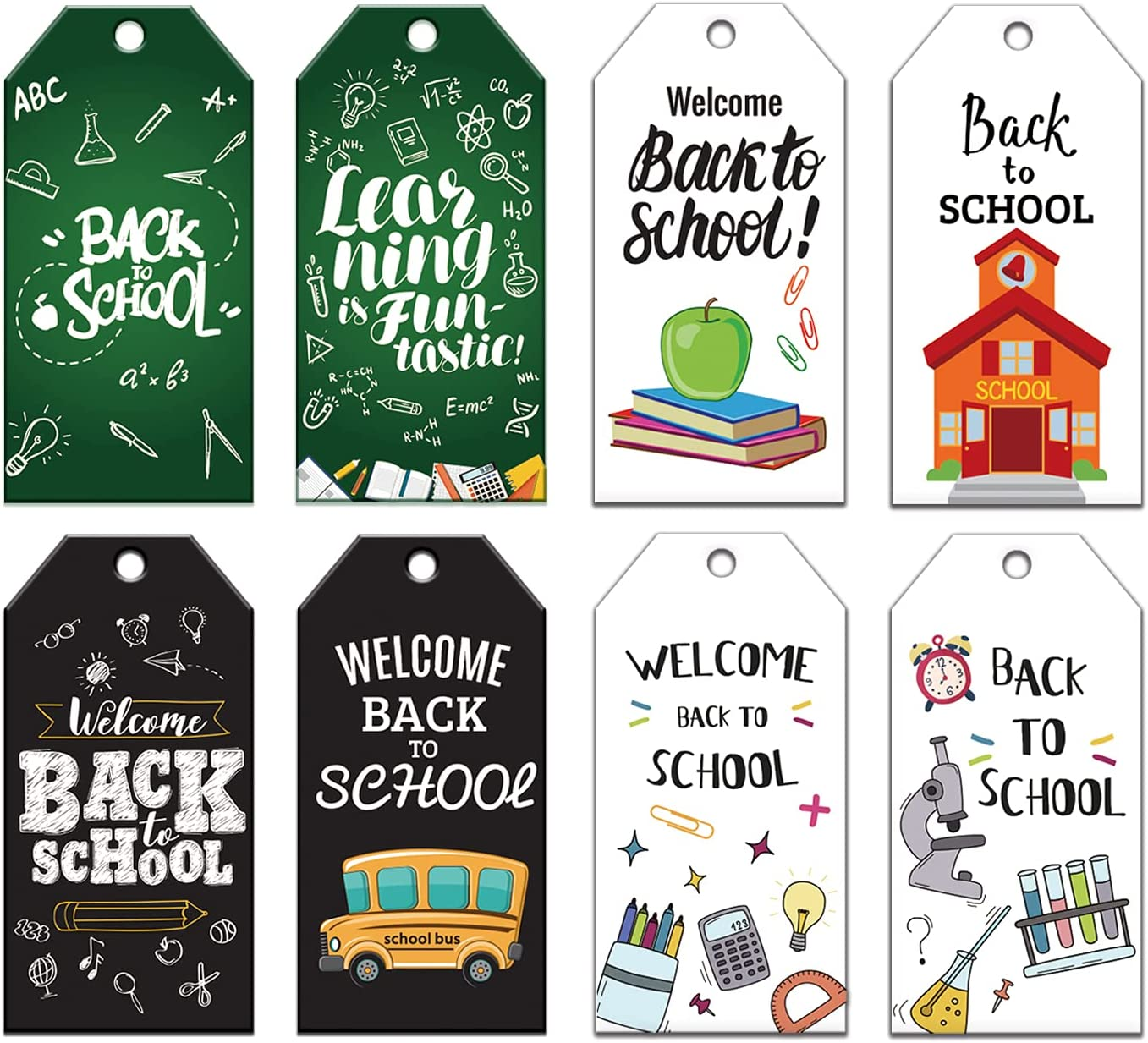 Doumeny 120Pcs Welcome Back Gift Paper Tags Back to School Gift Tags First Day of School Label Tags Teacher Classroom School Favor Tags with 65.6 Feet Twines for DIY Craft Party Birthday Gift Wrapping