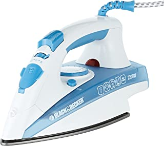Black+Decker 2200w Steam Iron With Non-stick Soleplate And Spray Function, Blue - X2000-b5, 2 Years Warranty