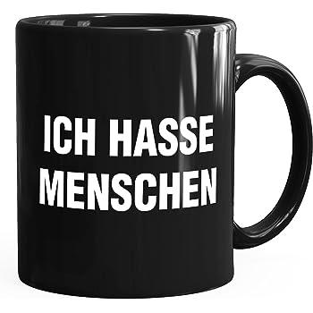 MoonWorks Ich Hasse Menschen Spruch Kaffee-Tasse schwarz Unisize