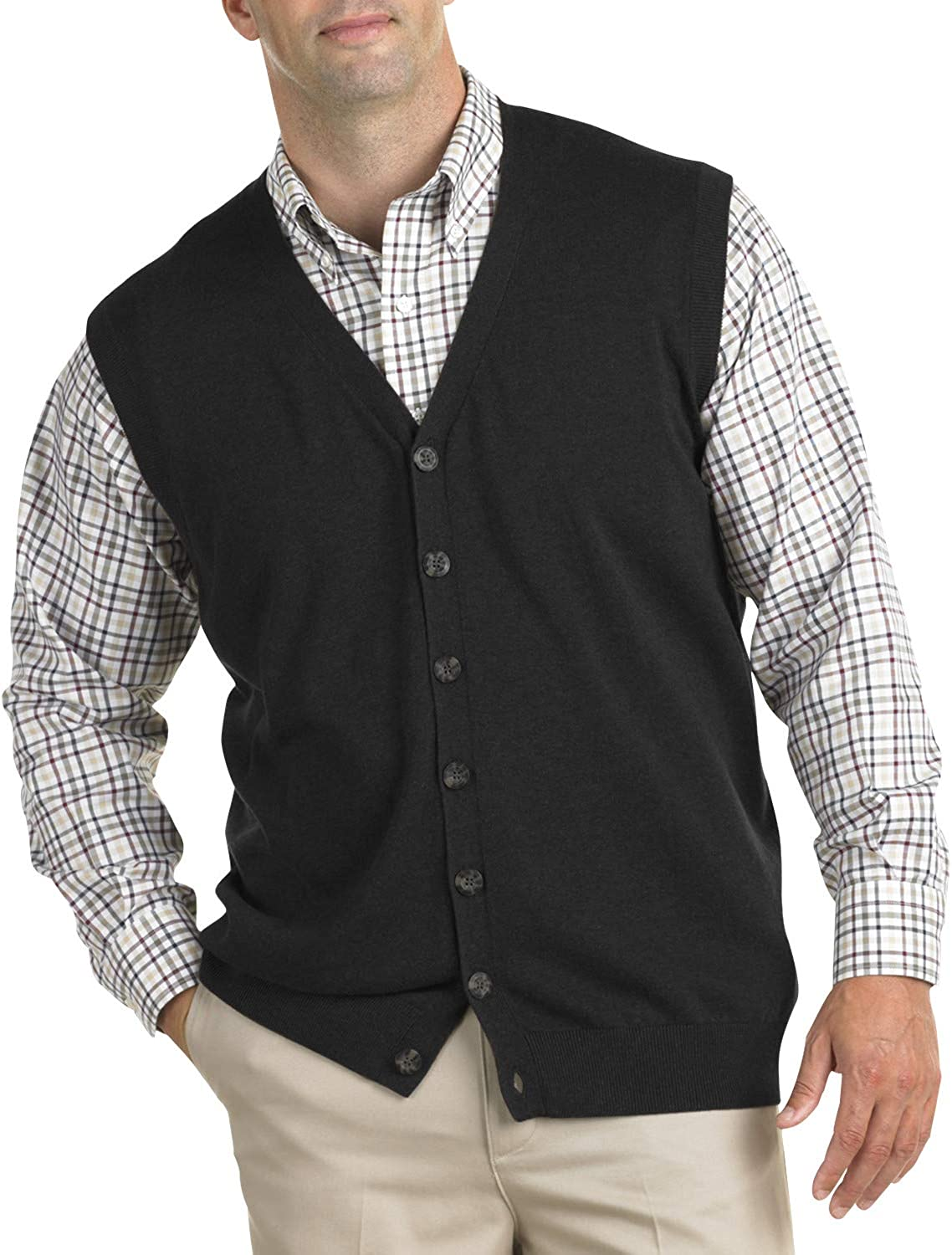 Oak Hill by DXL Big and Tall Button-Front Sweater Vest