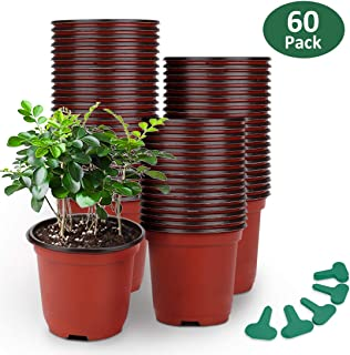 GROWNEER 60 Packs 4 Inches Plastic Plant Nursery Pots with 50 Pcs Plant Labels, Seed Starting Pot Flower Plant Container for Succulents, Seedlings, Cuttings, Transplanting