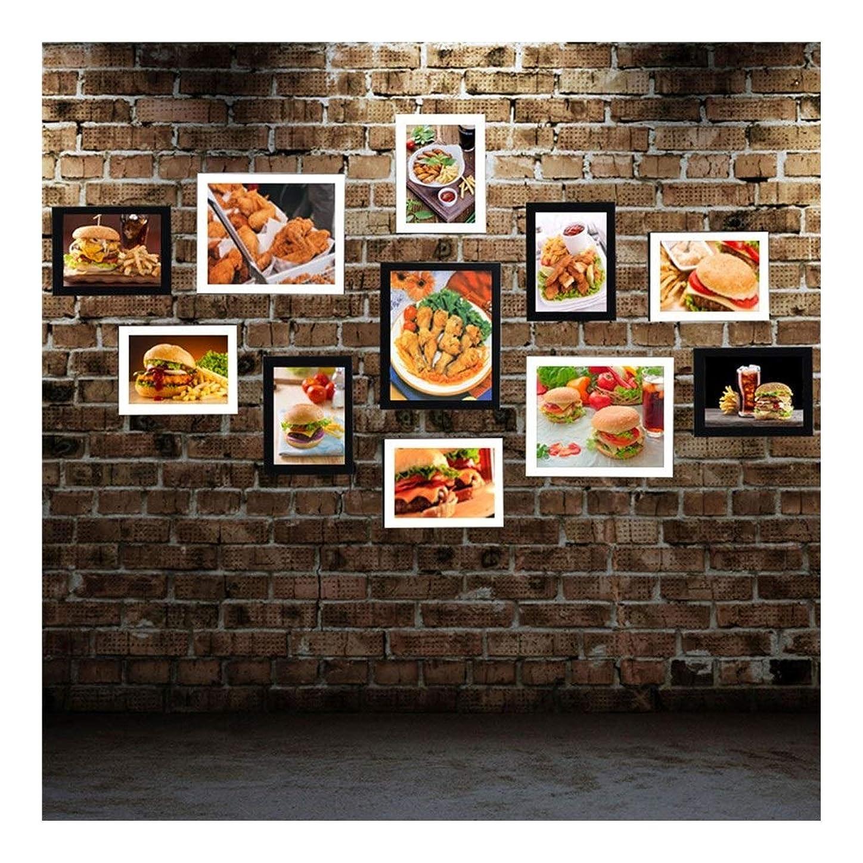 誕生留まる適性写真の壁の装飾画像の組み合わせケーキショップデザートショップの装飾ポスターベーキングルームウェストポイント壁掛け絵画の壁(黒/白) 環境にやさしい木 (Color : F, Size : 140cm*78cm)