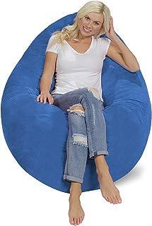 Chill Sack Bean Bag Chair Pillow: Giant Memory Foam Furniture Bean Bag - Big Sofa Soft Micro Fiber Cover - Royal Blue