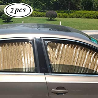 Car Side Window Sun Shade - 2 Pcs Beige Magnetic Baby Sunshades Car Window Curtain Keeps Cooler Providing Of Privacy Car S...