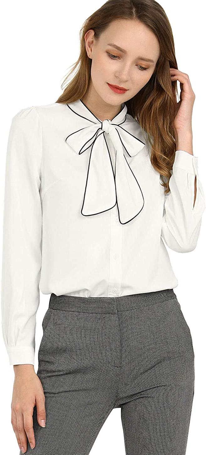 Allegra K Women's Tie Neck Contrast Color Button Down Long Sleeves Shirt