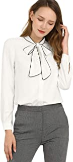 Women's Tie Neck Contrast Color Button Down Long Sleeves Shirt