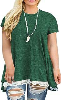 VISLILY Womens Plus Size XL-4XL Lace Short Sleeve A-Line...