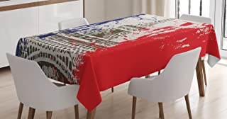 Ambesonne Paris Decor Tablecloth by, Grunge Style French Flag with Eiffel Tower City of Love in Retro Colors Europe, Dining Room Kitchen Rectangular Table Cover, 52 X 70 Inches, Red Blue Beige
