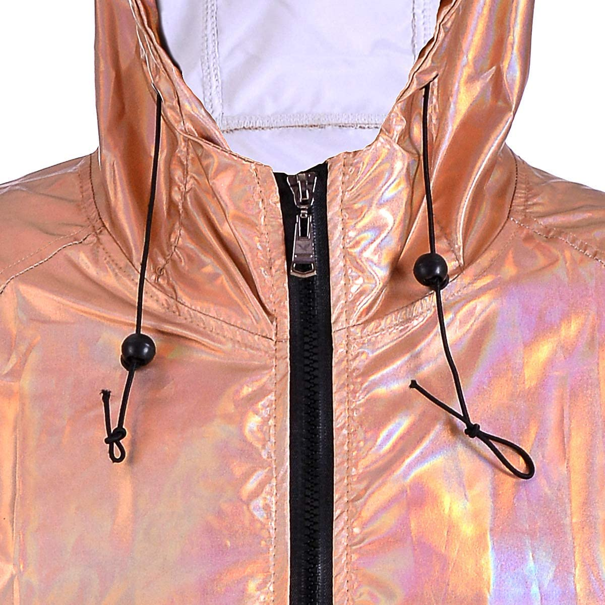 Paper Umbrella Damen Metallic Look holographische Regenjacke Rose Gold