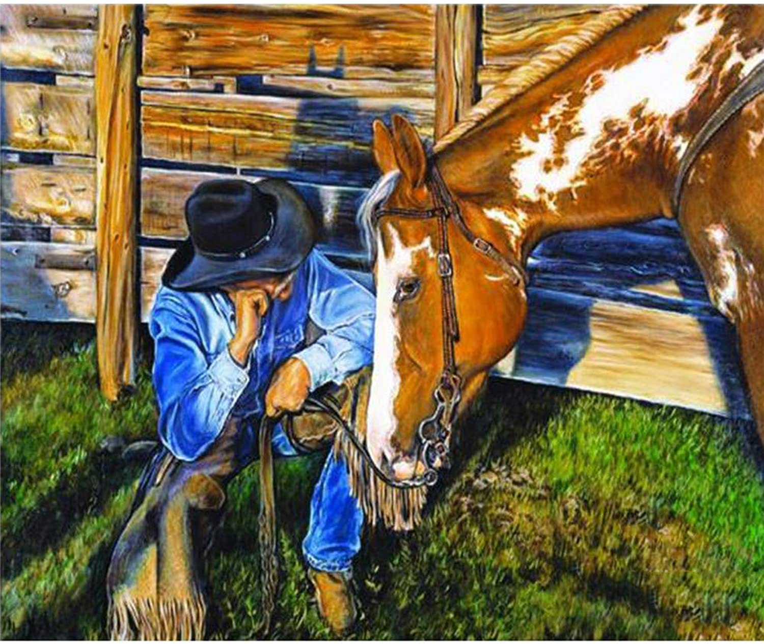 DIY Oil Painting Paintworks Paint by Number for Kids and Adults Farm Horse 16x20 Inch,with Wooden Frame