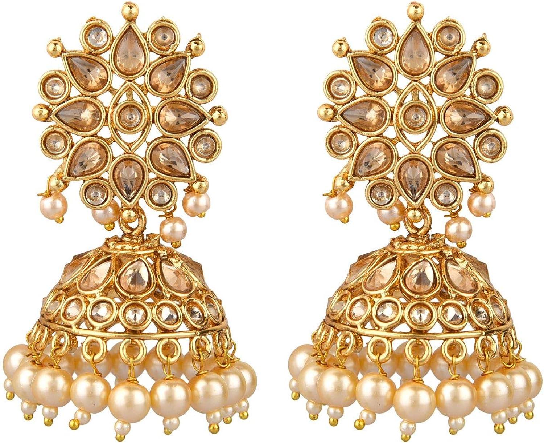 Efulgenz Indian Bollywood Faux Pearl Crystal Kundan Rhinestone Wedding Jhumka Jhumki Dangle Earrings Jewelry Set
