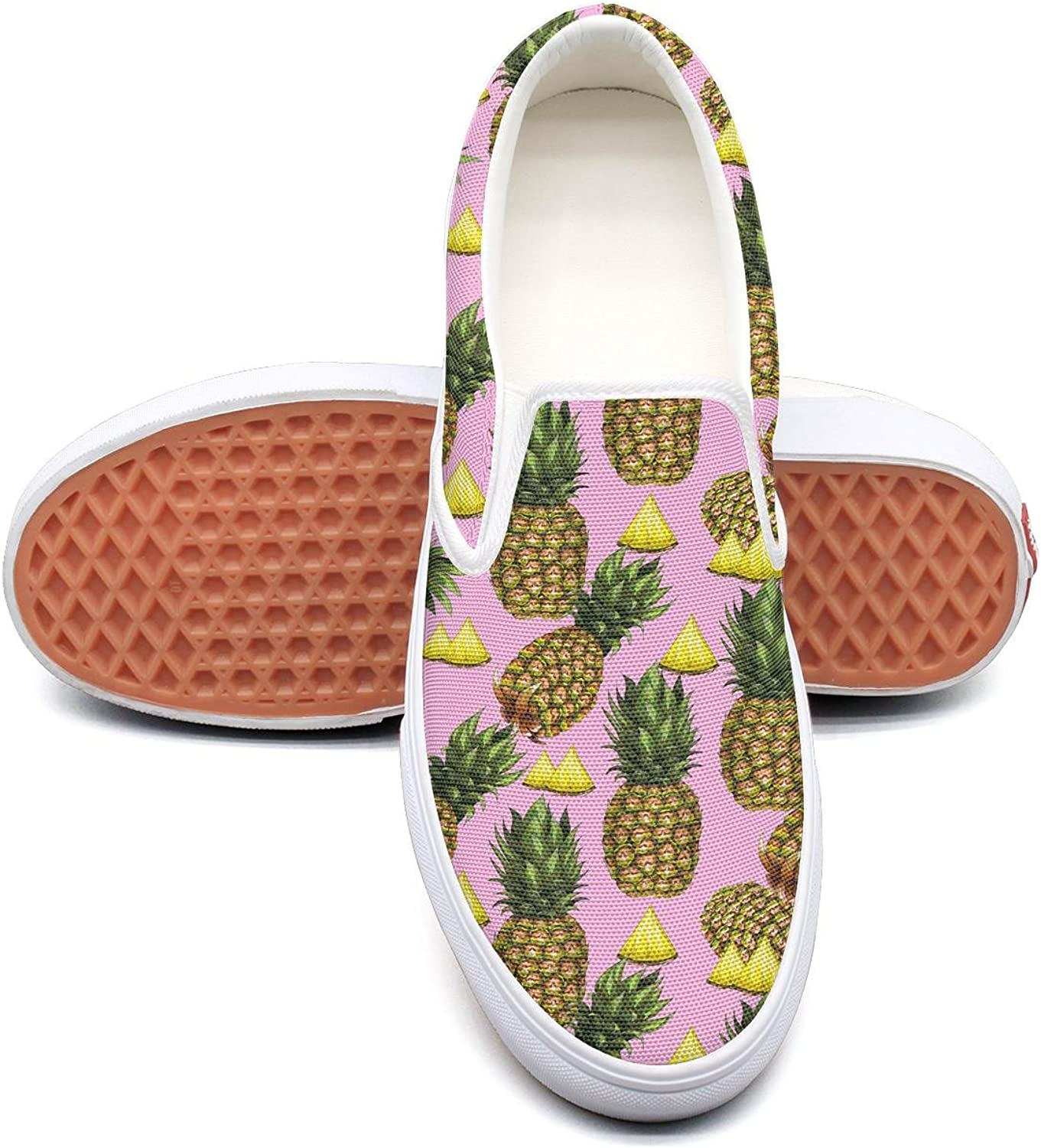 Pineapple and Hearts Slip on Superior Comfort Sneakers Canvas shoes for Women Fashion