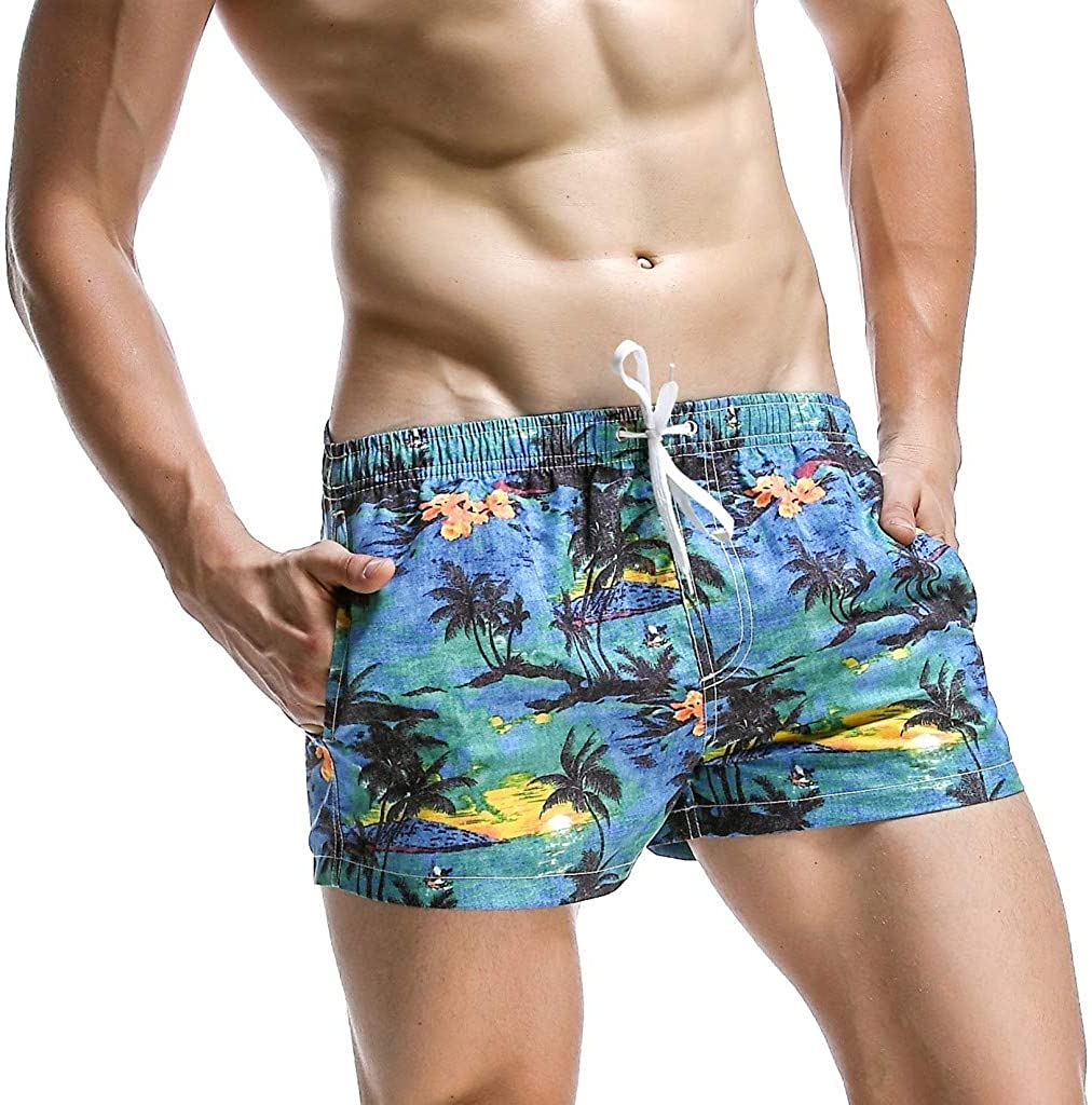 Men's Quick Dry Swim Trunks Shorts Hawaii Printed Drawstring Swimwear Bathing Suits Beach Shorts with Pockets