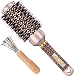 Round Brush, Nano Thermal Ceramic & Ionic Tech Roller Hair Brush, Round Barrel Brush with Boar Bristles, for Blow Drying, Styling, Curling and Shine (Barrel 1.7inch/43mm) + 1 Free Hair Cleaner