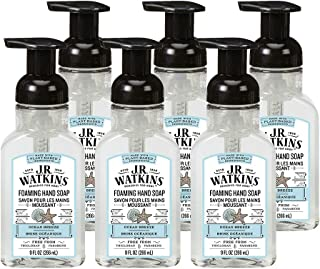 J.R. Watkins Foaming Hand Soap, Ocean Breeze, 6 Pack, Scented Foam Handsoap for Bathroom or  Kitchen, USA Made and Cruelty Free, 9 fl oz