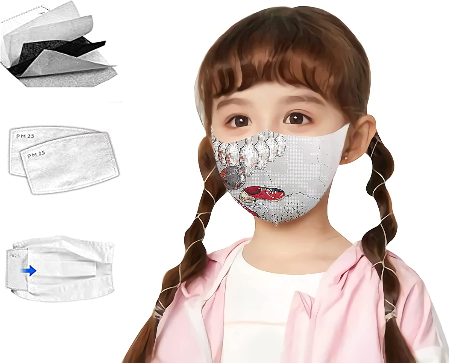 Kid Children 5 Layer Cotton Fabric Cloth Face Mask with 2pcs Filters Adjustable Earloop Washable Reusable Mask
